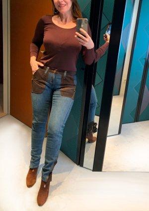 D&G Jeans mit Echtledereinsätzen, Gr. 28 (Ital.42), Skinny Fit