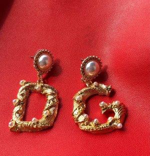 D G Ohrstecker Gold Perlen Ohrringe