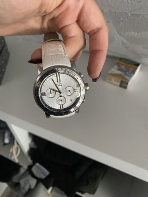 D&G Montre avec bracelet en cuir blanc