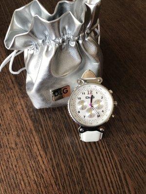 D&G Reloj con pulsera de cuero blanco