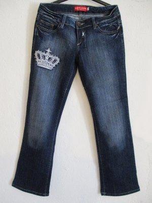 Jeans a zampa d'elefante blu scuro-bianco Cotone