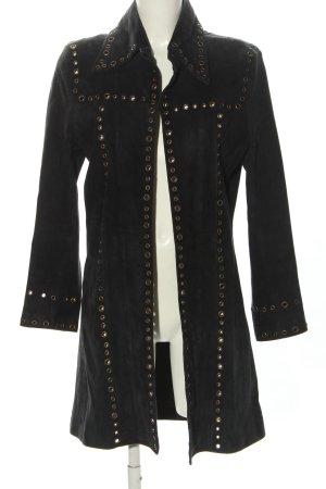 Da Milano Manteau en cuir noir style décontracté
