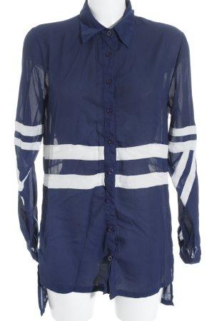 Daisy Street Langarm-Bluse blau-weiß Streifenmuster
