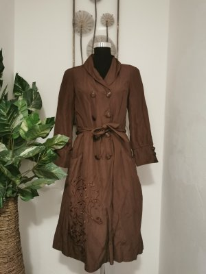 Daite Trench Coat cognac-coloured-black brown cotton