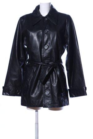 Dakota Abrigo de cuero negro look casual