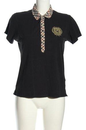 Daks Camiseta negro-crema estampado a cuadros look casual