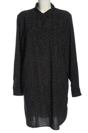 Dalia Robe chemise noir-blanc imprimé allover style décontracté