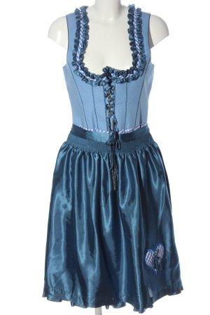 Daller Dirndl blue check pattern wet-look