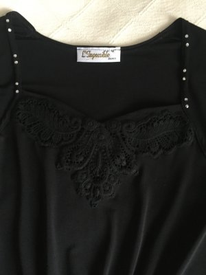L'Impossible Paris Glanzende blouse zwart
