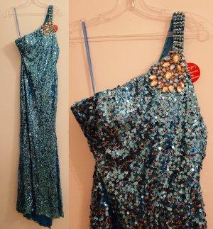 Damen Abendkleid Ballkleid Kleid NP 69,90 Pailletten One Shoulder Neu