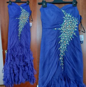 Damen Abendkleid Ballkleid Kleid NP 99,90 Chiffon Volant Rüschen Strass Pailletten Perlen