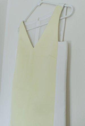 Damen ärmellos geschäftlich Abendkleid elegant klassisch hell Gelb weiß v-ausschnitt Gr. 34 XS
