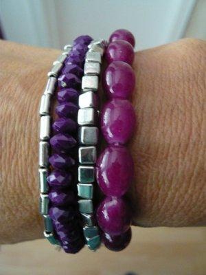 Damen-Armband, 4tlg., LBVYR, Modeschmuck, silber/violett, neu