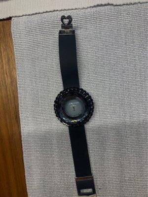 OUSDA Horloge met lederen riempje zwart-grijs