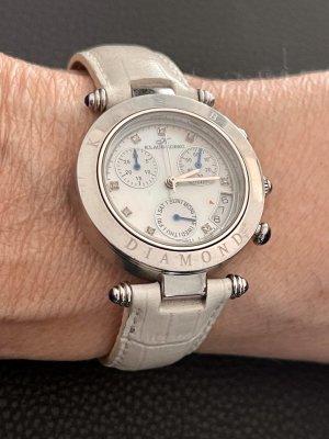 Klaus Cobec Montre avec bracelet en cuir argenté-blanc