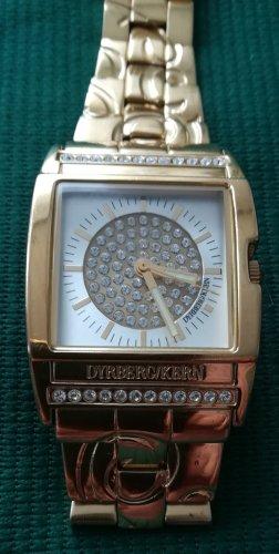 Damen Armbanduhr von Dyrberg/Kern, Gold-Look, quadratisch, mit Schmucksteinen