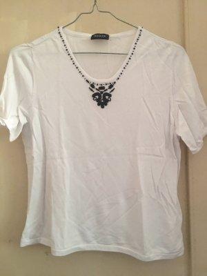 Basler T-shirt blanc-bleu foncé