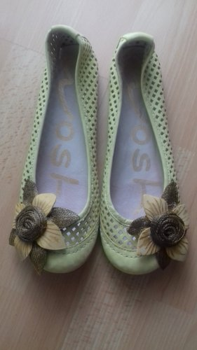 Ballerinas with Toecap lime yellow-brown leather