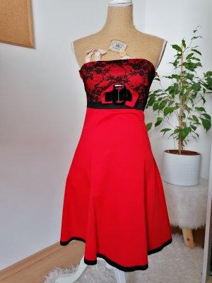 Jennifer Taylor Vestido bandeau negro-rojo