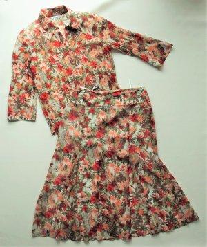 Damen Bekleidungs-Set Kombination Gerry Weber Gr. 38 Rock Bluse Kostüm Sommerset Blumenset wie neuwertig