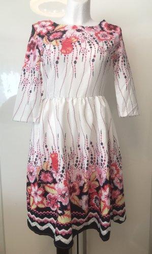 Damen Blumen Kleid Weiß Neu Gr Small