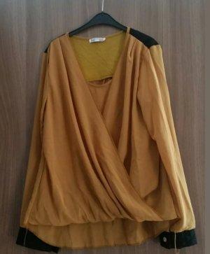 Kopertowa bluzka czarny-ochra