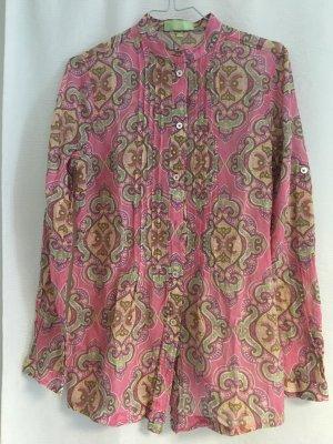Brigitte von Schönfels Long Sleeve Blouse pink-mint cotton
