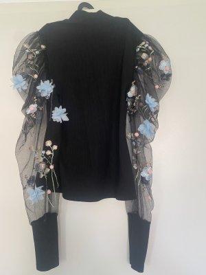 Empiècement de blouses noir-bleu azur