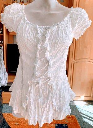 Damen Bluse Crach Rüschen Sommer Gr.40 in Weiß von Flame