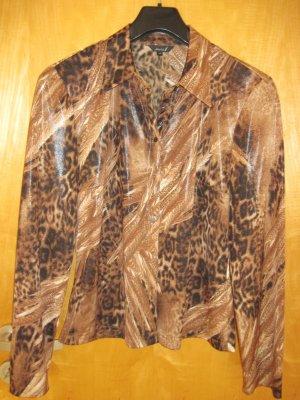 Damen Bluse  / Damenbluse,  Gr. 40, Tiermuster, braun mit schwarz