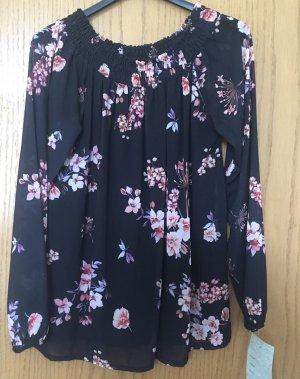 Damen Bluse dunkelblau mit Blumen Dekor Gr. ca. 36/38/Neu von MIONI Made in Italy - mit Etikett