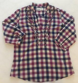 Damen Bluse, Esprit, Karo, blau pink, weiß, Gr. 36, Dreiviertelärmeln