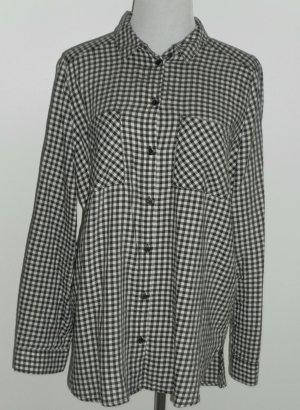 H&M Blouse à carreaux blanc cassé-noir coton