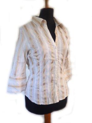 Damen Bluse H&M weiß gold Gr. 40/42 fast neu Jaquard fein tailliert Blogger