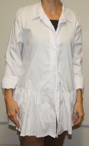 Damen Bluse Hemd mit Falten m7l weiss