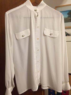 Mario Rosella Glanzende blouse wit Gemengd weefsel