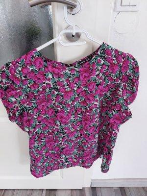 Damen Bluse Oberteil mit Blumenmuster u Puffärmel gr.M L
