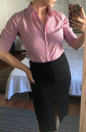 Damen Bluse Seidensticker Hemd Gr. 34 XS S Kurzärmig rot Streifen Büro Business