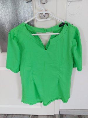 Damen Bluse Top Oberteil in Neongrün mit puffärmel gr.M L