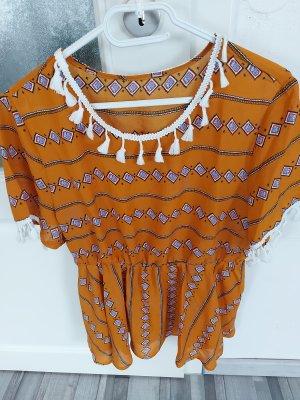 SheIn Top z baskinką w kolorze białej wełny-złotopomarańczowy