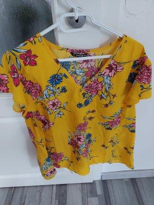 Damen Bluse Top Oberteil Tshirt in Gelb mit Blumenmuster gr.L XL