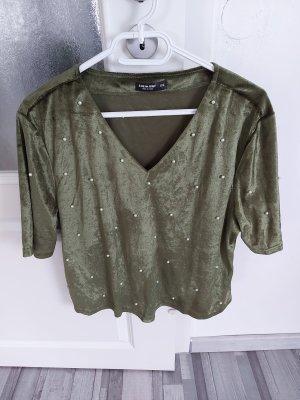 Damen Bluse Top Oberteil Tshirt in Khaki gr.L XL
