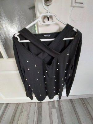 Sheinside Slip-over Blouse white-black