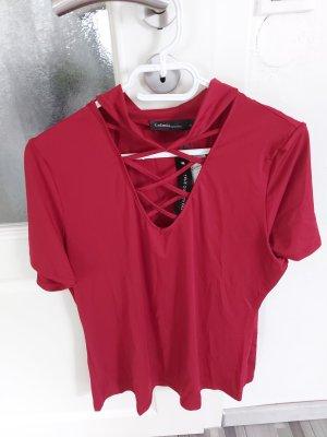 Damen Bluse Top Oberteil Tshirt in Weinrot mit Halsdatails gr.M L