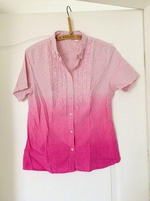 Damen Bluse Top Shirt Hemd Kurzarm Rüsschen Gestreift Rosa Weiß