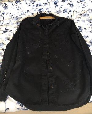 Liebeskind Koszulowa bluzka czarny-w kolorze białej wełny