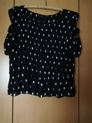 Zara Basic Blouse Carmen noir-blanc polyester