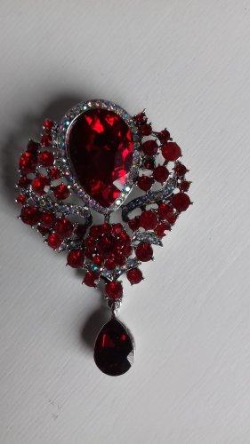Broche rojo-rojo oscuro tejido mezclado