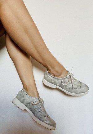 Damen Budapester Ballerinas Halbschuhe Silber geschnürt Sneaker Slipper