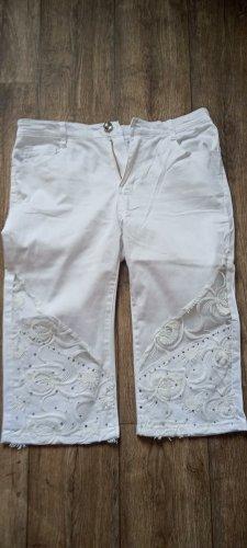 Jeansy 3/4 biały Bawełna